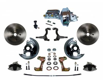 "Power Front Disc Brake Conversion Kit with 9"" Chrome Booster Flat Top Chrome M/C Adjustable Proportioning Valve - Assembled"