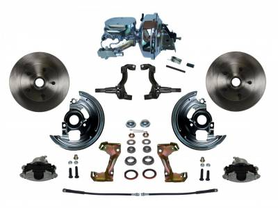 "Power Front Disc Brake Conversion Kit with 9"" Chrome Booster Flat Top Chrome M/C Disc/Disc Side Mount - Assembled"