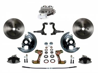 Manual Front Disc Brake Conversion Kit with Cast Iron Chrome Top M/C Disc/Drum Side Mount