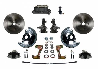 """Manual Front Disc Brake Conversion 2"""" Drop Spindle with Cast Iron M/C Adjustable Proportioning Valve"""
