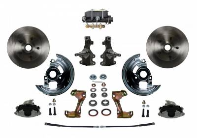 "Manual Front Disc Brake Conversion Kit 2"" Drop Spindle with Cast Iron M/C Disc/Drum Bottom Mount - Assembled"