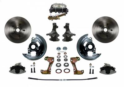 "Manual Front Disc Brake Conversion 2"" Drop Spindle with Cast Iron M/C Disc/Drum Side Mount - Assembled"
