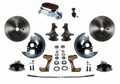 "Manual Front Disc Brake Conversion 2"" Drop Spindle with Cast Iron Chrome Top M/C Adjustable Proportioning Valve"