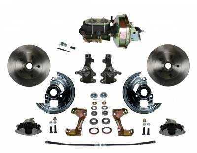 "Power Front Disc Brake Conversion Kit 2"" Drop Spindle with 9"" Zinc Booster Cast Iron M/C Disc/Drum Bottom Mount - Assembled"