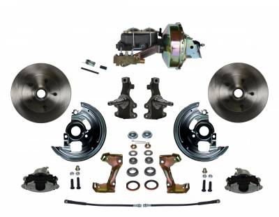 "Power Front Disc Brake Conversion Kit 2"" Drop Spindles with 9"" Zinc Booster Cast Iron M/C Disc/Disc Side Mount - Assembled"