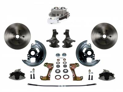 """Manual Front Disc Brake Conversion 2"""" Drop Spindle with Cast Iron Chrome Top M/C Disc/Drum Side Mount - Assembled"""