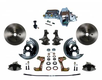 "Power Front Disc Brake Conversion Kit 2"" Drop Spindle with 9"" Chrome Booster Flat Top Chrome M/C Adjustable Proportioning Valve - Assembled"