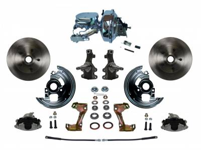 """Power Front Disc Brake Conversion Kit 2"""" Drop Spindle with 9"""" Chrome Booster Flat Top Chrome M/C Disc/Disc Side Mount - Assembled"""