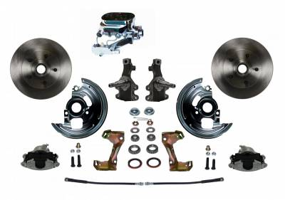 "Manual Front Disc Brake Conversion 2"" Drop Spindle with Chrome Aluminum Flat Top M/C Disc/Drum Side Mount - Assembled"