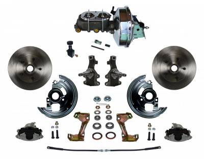 "Power Front Disc Brake Conversion Kit 2"" Drop Spindle with 9"" Chrome Booster Cast Iron Chrome Top M/C Adjustable Proportioning Valve - Assembled"