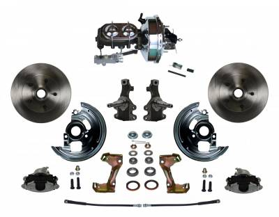 "Power Front Disc Brake Conversion Kit 2"" Drop Spindle with 9"" Chrome Booster Cast Iron Chrome Top M/C Disc/Drum Side Mount - Assembled"