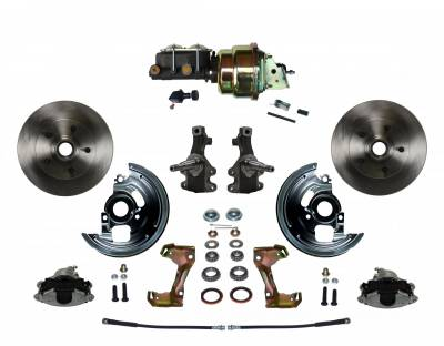 """Power Front Disc Brake Conversion Kit 2"""" Drop Spindles with 7"""" Dual Zinc Booster Cast Iron M/C Adjustable Proportioning Valve - Assembled"""