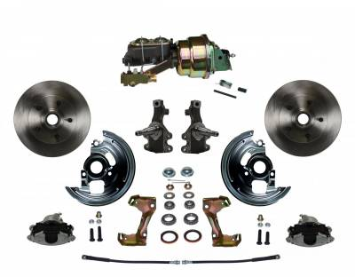 "Power Front Disc Brake Conversion Kit 2"" Drop Spindles with 7"" Dual Zinc Booster Cast Iron M/C Disc/Disc Side Mount - Assembled"