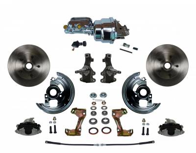 "Power Front Disc Brake Conversion Kit 2"" Drop Spindles with 7"" Dual Chrome Booster Flat Top Chrome M/C Adjustable Proportioning Valve - Assembled"