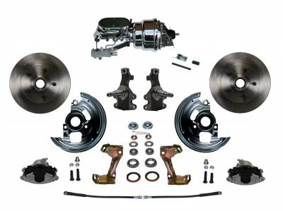 "Power Front Disc Brake Conversion Kit 2"" Drop Spindles with 7"" Dual Chrome Booster Flat Top Chrome M/C Disc/Disc Side Mount - Assembled"