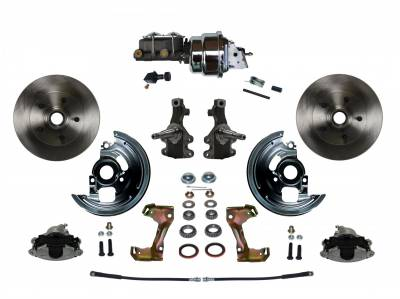 "Power Front Disc Brake Conversion Kit 2"" Drop Spindles with 7"" Dual Chrome Booster Cast Iron Chrome Top M/C Adjustable Proportioning Valve - Assembled"