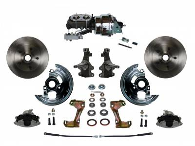 "Power Front Disc Brake Conversion Kit 2"" Drop Spindle with 7"" Dual Chrome Booster Cast Iron Chrome Top M/C Disc/Drum Side Mount"