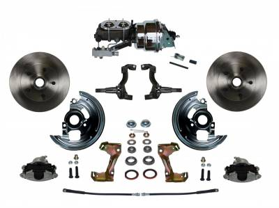 "Power Front Disc Brake Conversion Kit 2"" Drop Spindles with 7"" Dual Chrome Booster Cast Iron Chrome Top M/C Disc/Drum Side Mount - Assembled"