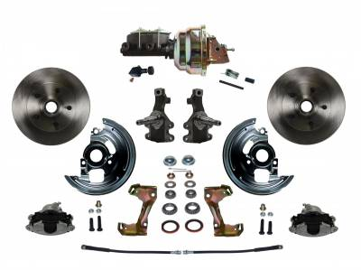 "Power Front Disc Brake Conversion Kit 2"" Drop Spindle with 8"" Dual Zinc Booster Cast Iron M/C Adjustable Proportioning Valve - Assembled"