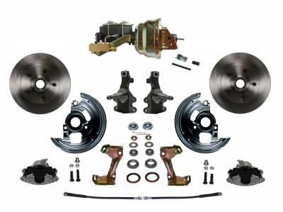"Power Front Disc Brake Conversion Kit 2"" Drop Spindle with 8"" Dual Zinc Booster Cast Iron M/C Disc/Drum Side Mount - Assembled"