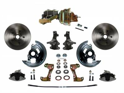 "Power Front Disc Brake Conversion Kit 2"" Drop Spindle with 8"" Dual Zinc Booster Cast Iron M/C Disc/Disc Side Mount - Assembled"