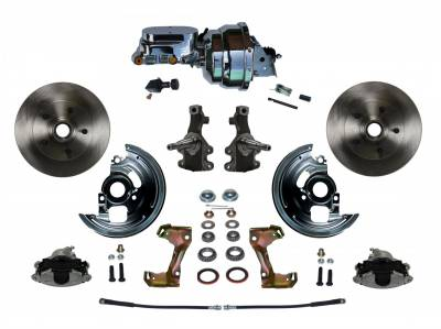 """Power Front Disc Brake Conversion Kit 2"""" Drop Spindle with 7"""" Dual Chrome Booster Flat Top Chrome M/C Adjustable Proportioning Valve - Assembled"""