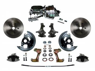 """Power Front Disc Brake Conversion Kit 2"""" Drop Spindle with 8"""" Dual Chrome Booster Flat Top Chrome M/C Disc/Disc Side Mount - Assembled"""