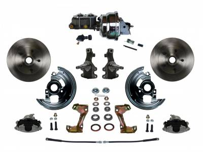 "Power Front Disc Brake Conversion Kit 2"" Drop Spindle with 8"" Dual Chrome Booster Cast Iron Chrome Top M/C Adjustable Proportioning Valve"