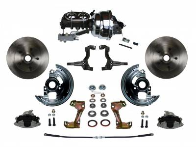 "Power Front Disc Brake Conversion Kit 2"" Drop Spindle with 8"" Dual Chrome Booster Cast Iron Chrome Top M/C Disc/Drum Side Mount"
