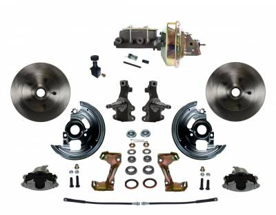 "Power Front Disc Brake Conversion Kit 2"" Drop Spindle with 9"" Zinc Booster Cast Iron M/C Adjustable Proportioning Valve"