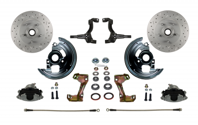 LEED Brakes Chevelle Camaro Front Disc Brake Conversion with MaxGrip Cross Drilled Rotors