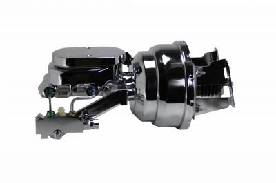 LEED Brakes - 8 inch Dual power booster , 1-1/8 inch Bore Flat Top master, side mount valve. Disc/disc (Chrome)