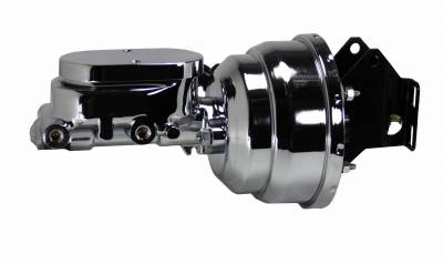 LEED Brakes - 8 inch Dual power booster , 1-1/8 inch Bore Flat Top master (Chrome)