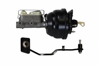 LEED Brakes - 8 inch Dual Diaphragm power brake booster with bracket, 1 inch bore master cylinder with Manual Trans Brake Pedal (Black)
