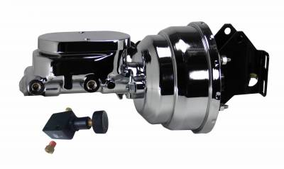 LEED Brakes - 8 inch Dual power booster , 1-1/8 inch Bore Flat Top master with Adjustable Valve (Chrome)