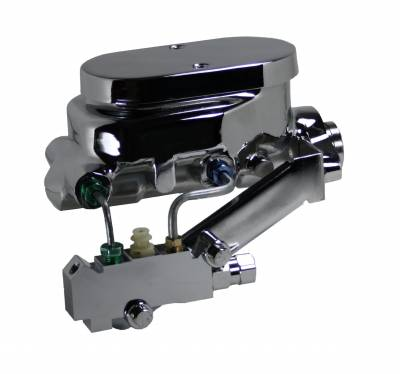 LEED Brakes - Master Cylinder Kit - Chrome 1 inch Bore left port with disc/disc valve
