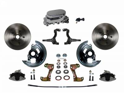 Manual Front Disc Brake Conversion Kit with Chrome Aluminum Flat Top M/C Adjustable Proportioning Valve
