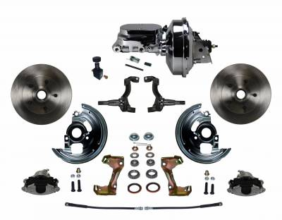 "Power Front Disc Brake Conversion Kit with 9"" Chrome Booster Flat Top Chrome M/C Adjustable Proportioning Valve"