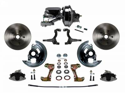 "Power Front Disc Brake Conversion Kit with 9"" Chrome Booster Flat Top Chrome M/C Disc/Disc Side Mount"