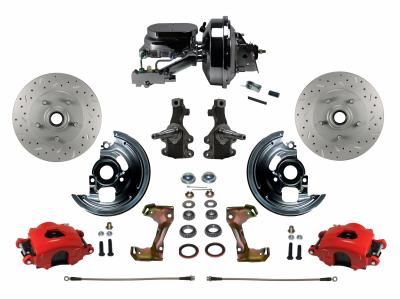 Leed Brakes Red Powder Coated Camaro Front Disc Brake System