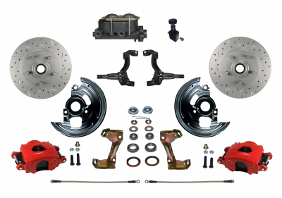 GM AFX Red Powder Coated Front Disc Brake kit with MaxGrip XDS rotors