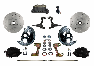 GM AFX Black Powder Coated Front Disc Brake kit with MaxGrip XDS rotors