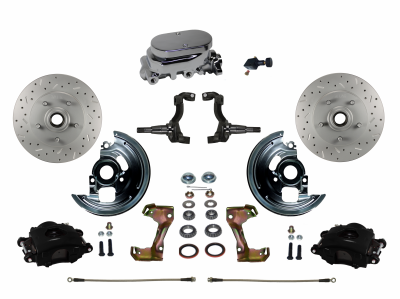 Front Disc Brake kit with Black Powder Coated Calipers - LEED Brakes