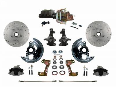 """Power Front Disc Brake Conversion Kit 2"""" Drop Spindle Cross Drilled and Slotted with 9"""" Zinc Booster Cast Iron M/C Adjustable Proportioning Valve"""