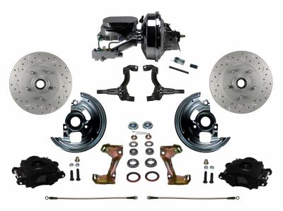GM Front DIsc Brake Conversion Kit MaxGrip Rotors & Black Calipers