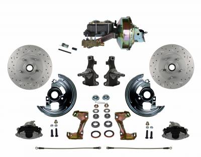 """Power Front Disc Brake Conversion Kit 2"""" Drop Spindle Cross Drilled and Slotted with 9"""" Zinc Booster Cast Iron M/C Disc/Drum Side Mount"""