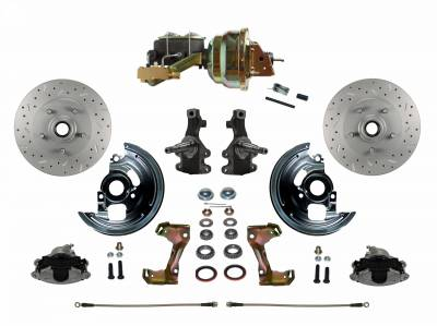 "Power Front Disc Brake Conversion Kit 2"" Drop Spindle Cross Drilled and Slotted with 8"" Dual Zinc Booster Cast Iron M/C Disc/Drum Side Mount"