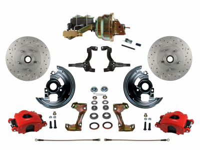 GTO Front Disc Brake Conversion Kit with Red Powder Coated Calipers