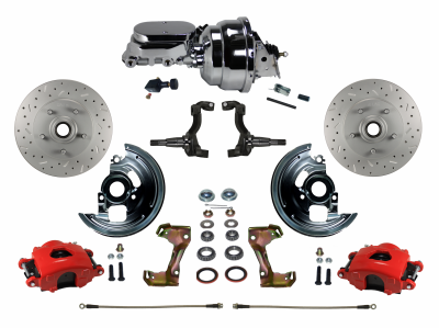 Cutlass Front Disc Brake kit with Red Powder Coated Caliper