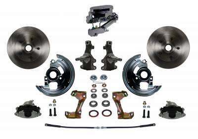 "Manual Front Disc Brake Conversion 2"" Drop Spindle with Chrome Aluminum Flat Top M/C Disc/Drum Side Mount"